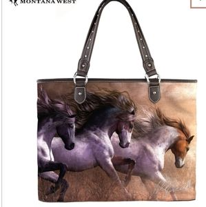 Montana West Horse Art Canvas Tote Bag
